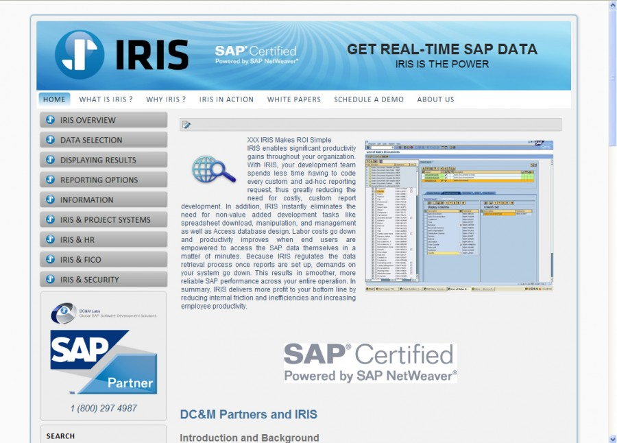 IRIS SAP Website