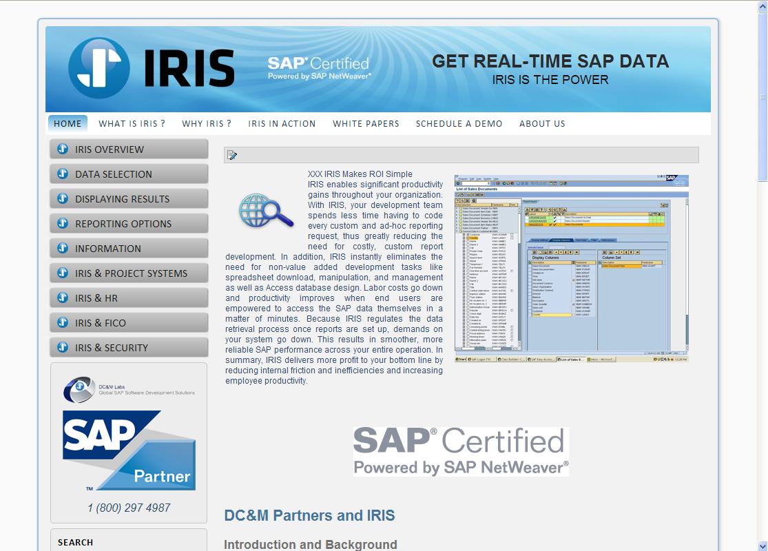 IRIS SAP Data Joomla Website by Web Guy Arizona