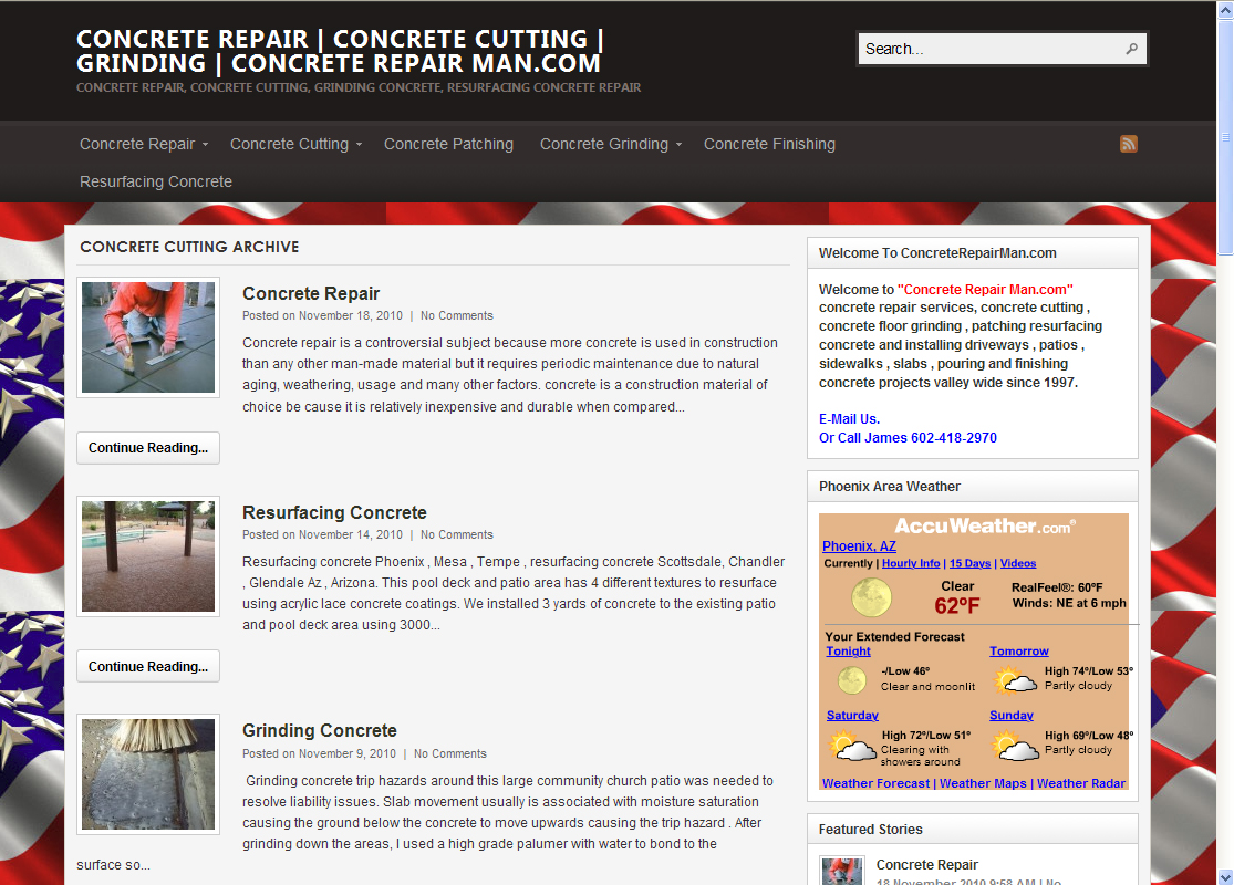 Concrete Repairman WordPress Website by Web Guy Arizona