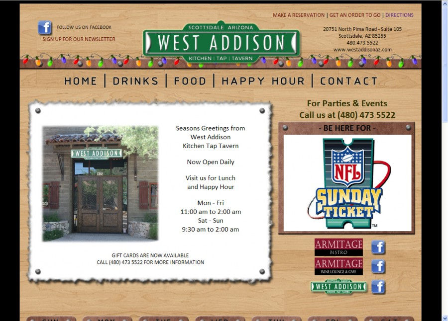West Addison Restaurant Website