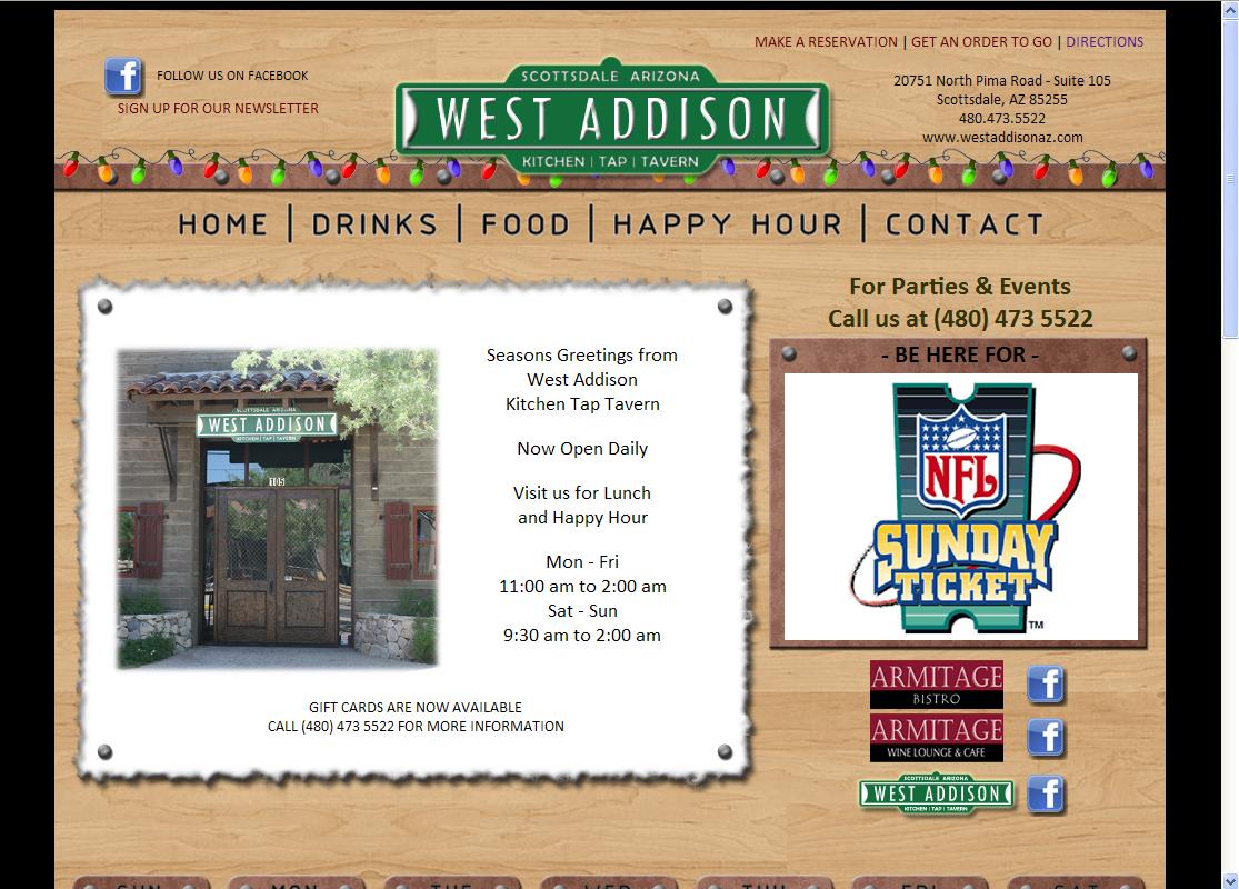West Addison Tavern WordPress Website by Web Guy Arizona