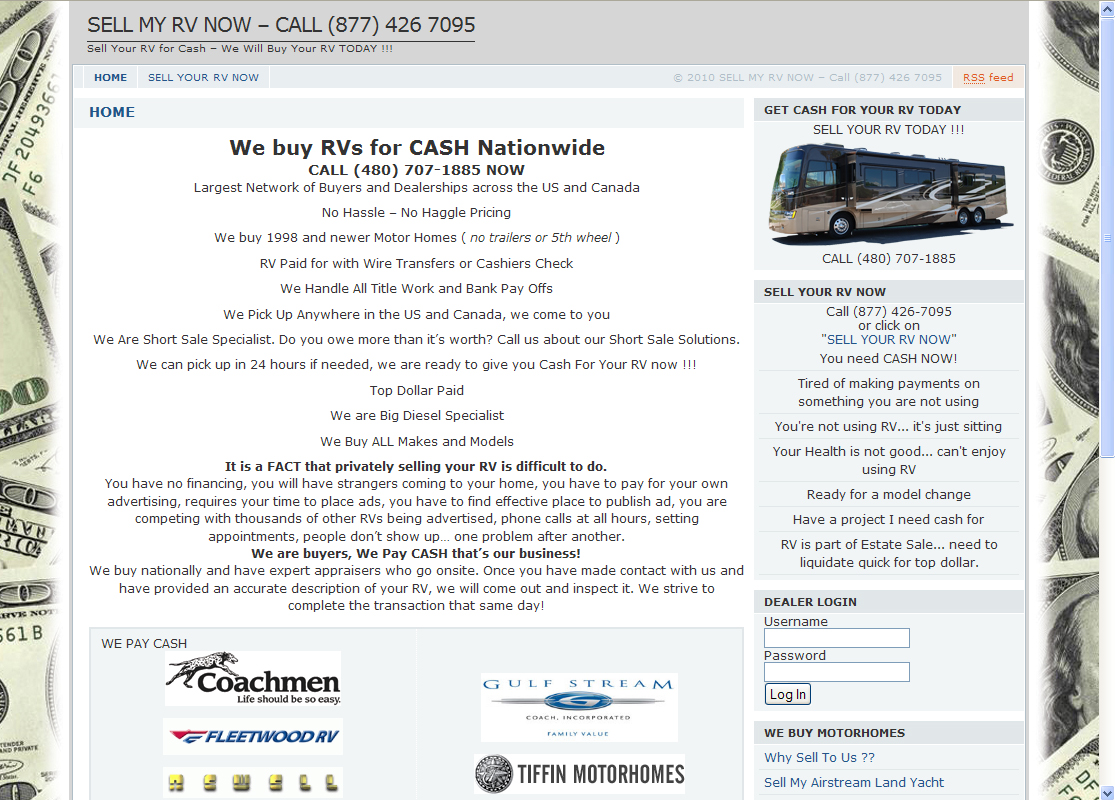 Sell My RV Now WordPress Website by Web Guy Arizona
