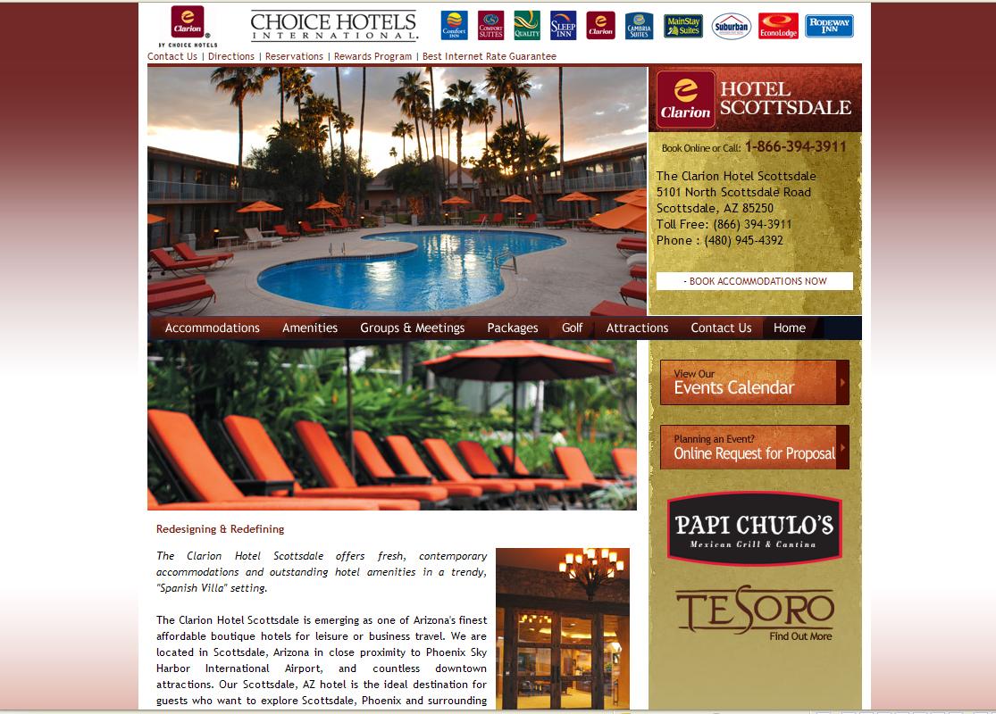 Clarion Hotel Scottsdale Website by Web Guy Arizona