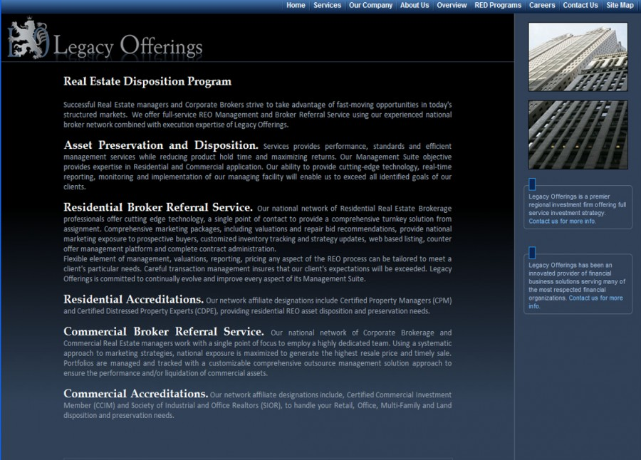 Legacy Offerings Website
