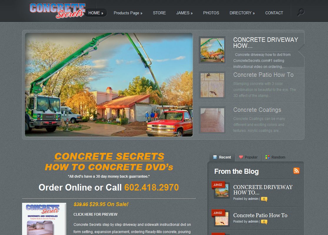 Concrete Secrets DVD WordPress Website by Web Guy Arizona