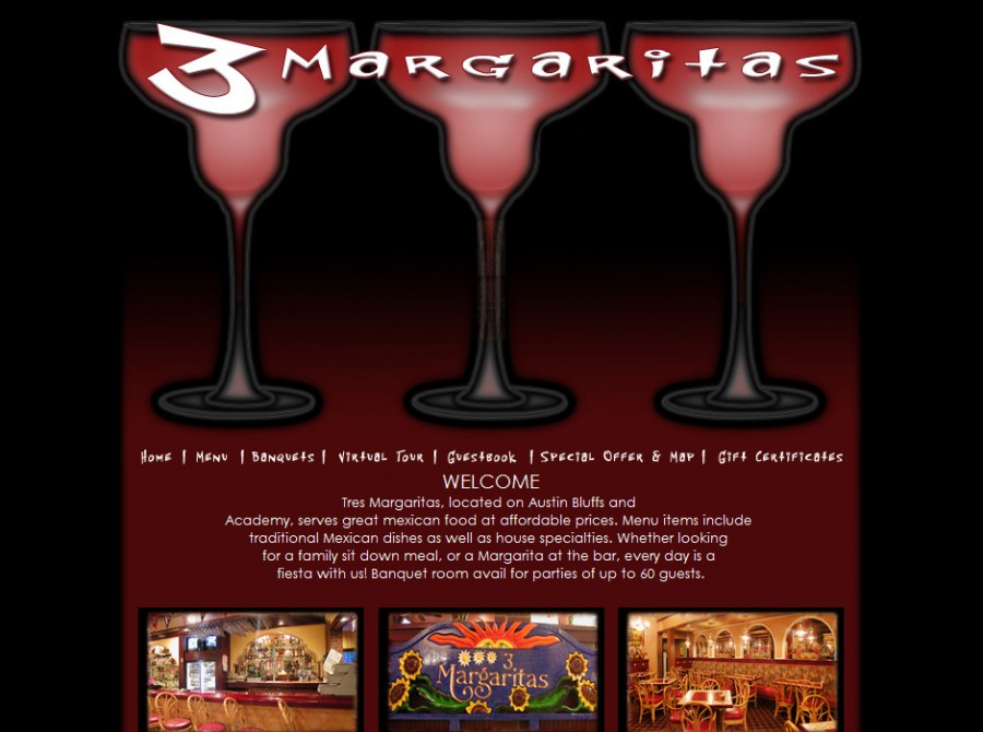 3 Margaritas Restaurant Website