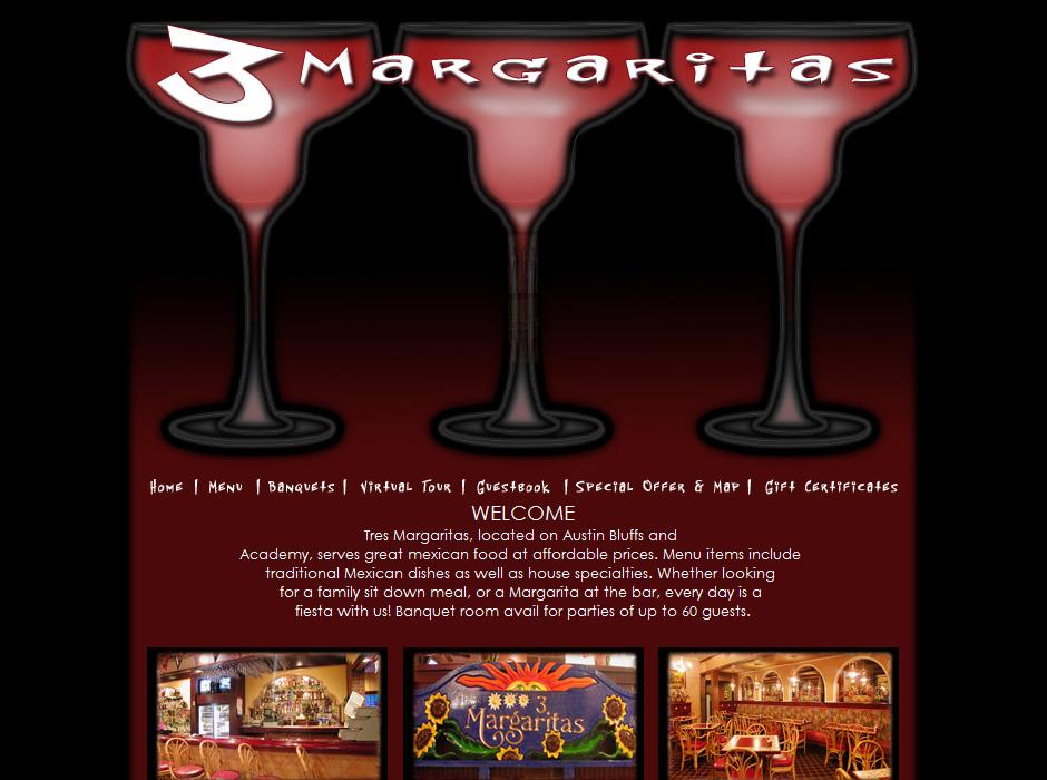 3 Margaritas Restaurant Website by Web Guy Arizona