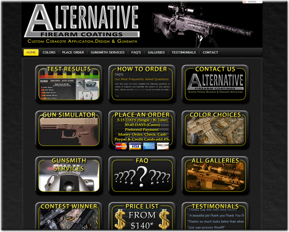 Alternative Firearm Coating Joomla Website by Web Guy Arizona