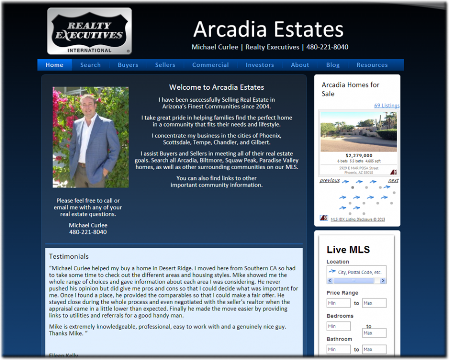 Arcadia Estates Website