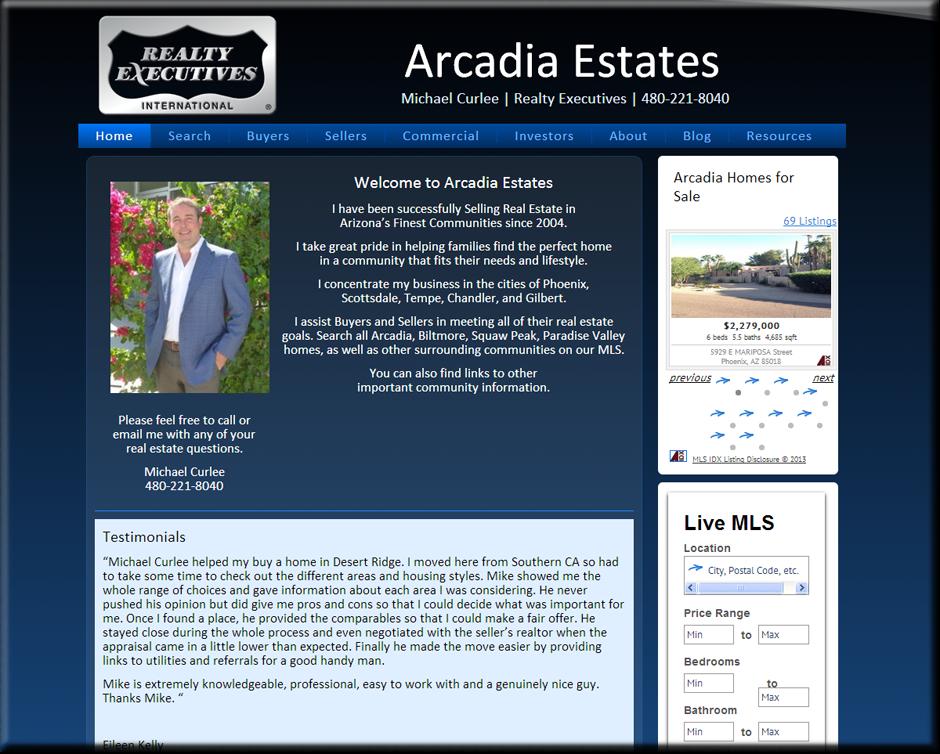 Arcadia Estates WordPress Website by Web Guy Arizona
