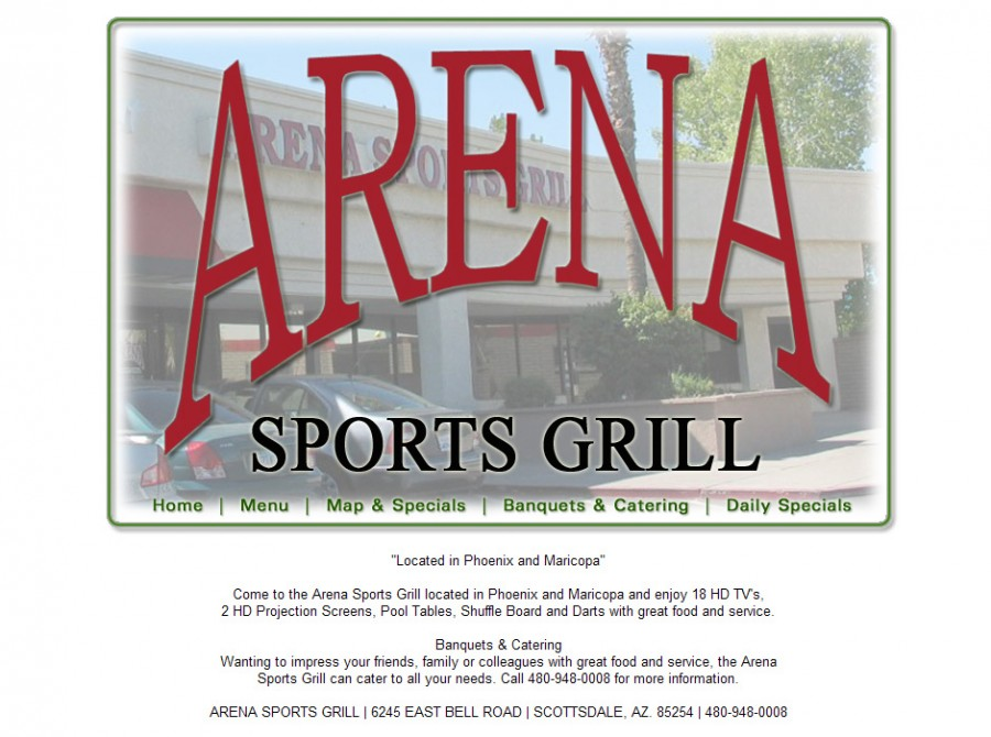 Arena Sports Grill Website