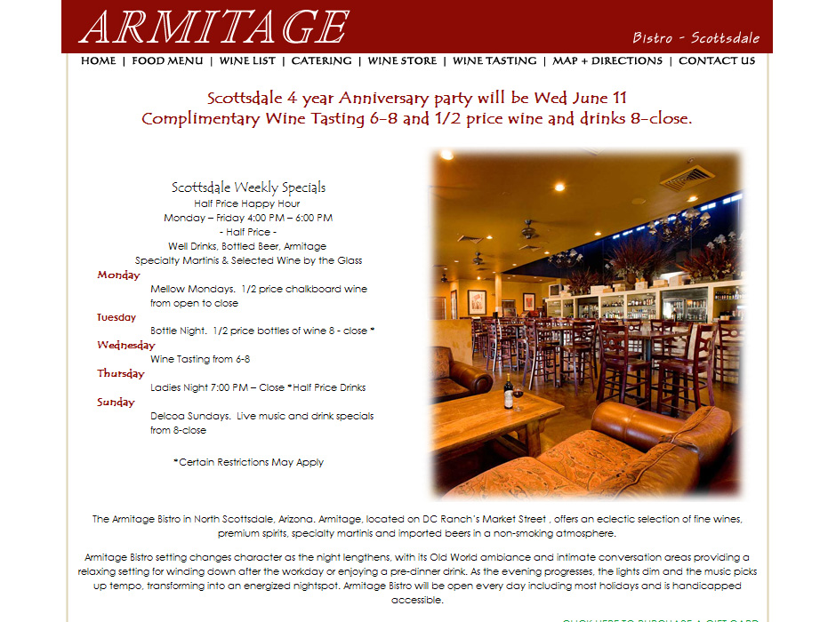 Armitage Bistro Joomla Website by Web Guy Arizona