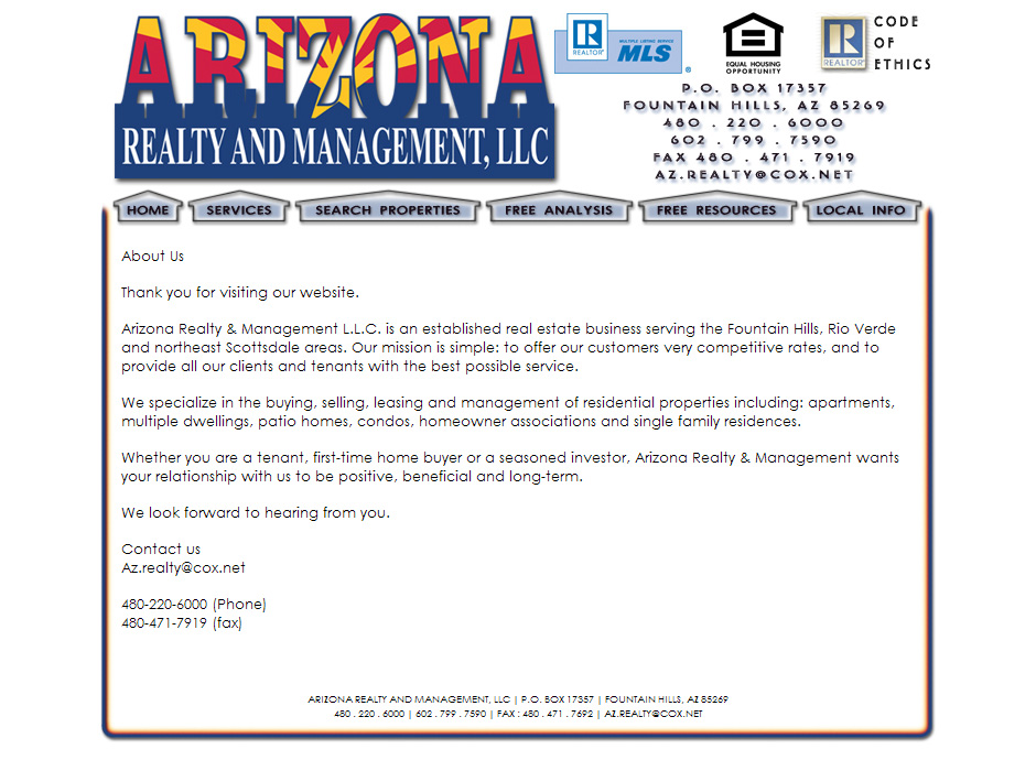 Arizona Realty and Management Website by Web Guy Arizona