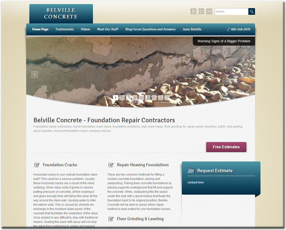 Belville Concrete WordPress Website by Web Guy Arizona