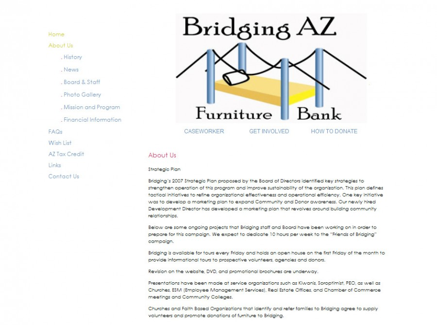 Bridging AZ Furniture Bank Website