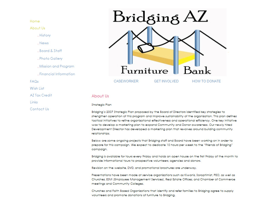 Bridging Arizona Furniture Bank Website by Web Guy Arizona