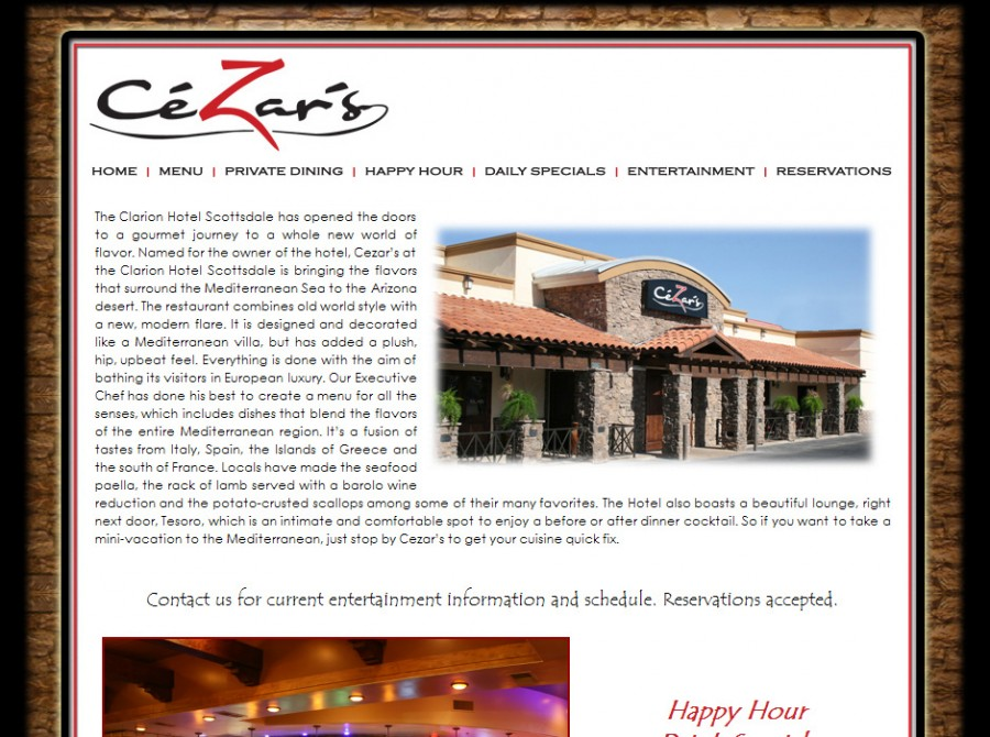 Cezars Restaurant Website