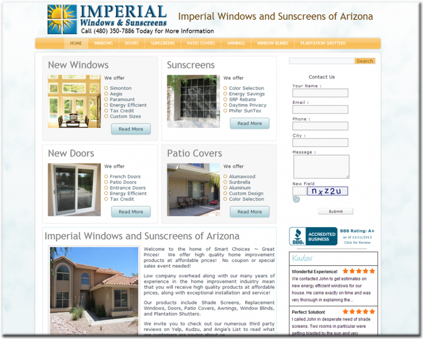 Imperial Windows & Sunscreens Website