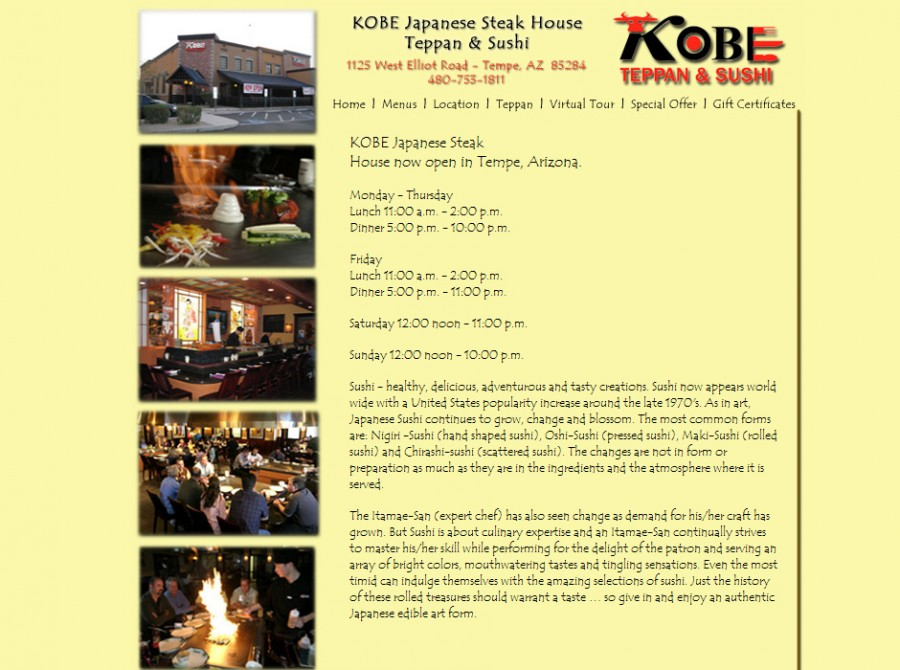 Kobe Steakhouse Website