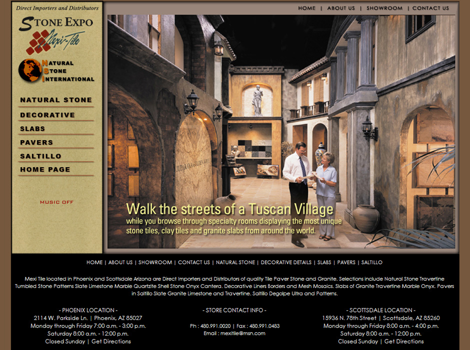 Mexi Tile Stone Expo Website - Custom HTML Website Design