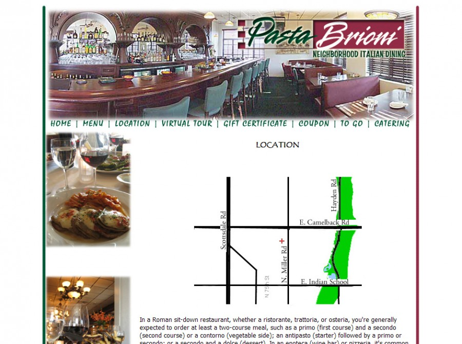 Pasta Brioni Restaurant Website