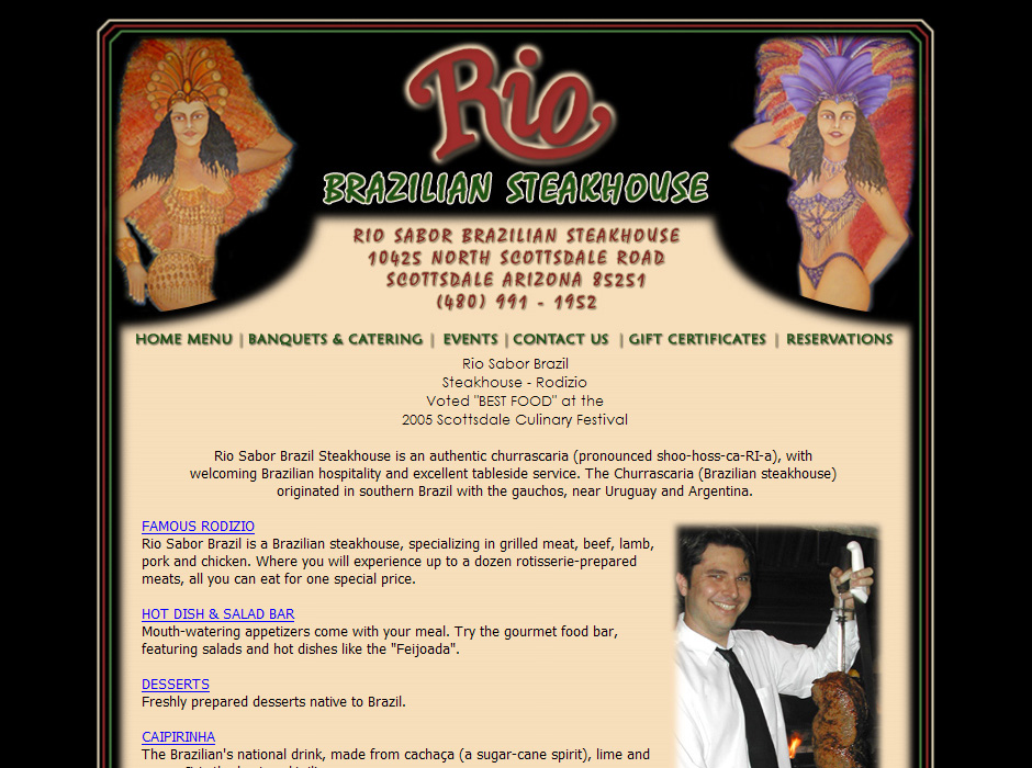 Rio Brazilian Steakhouse Website by Web Guy Arizona