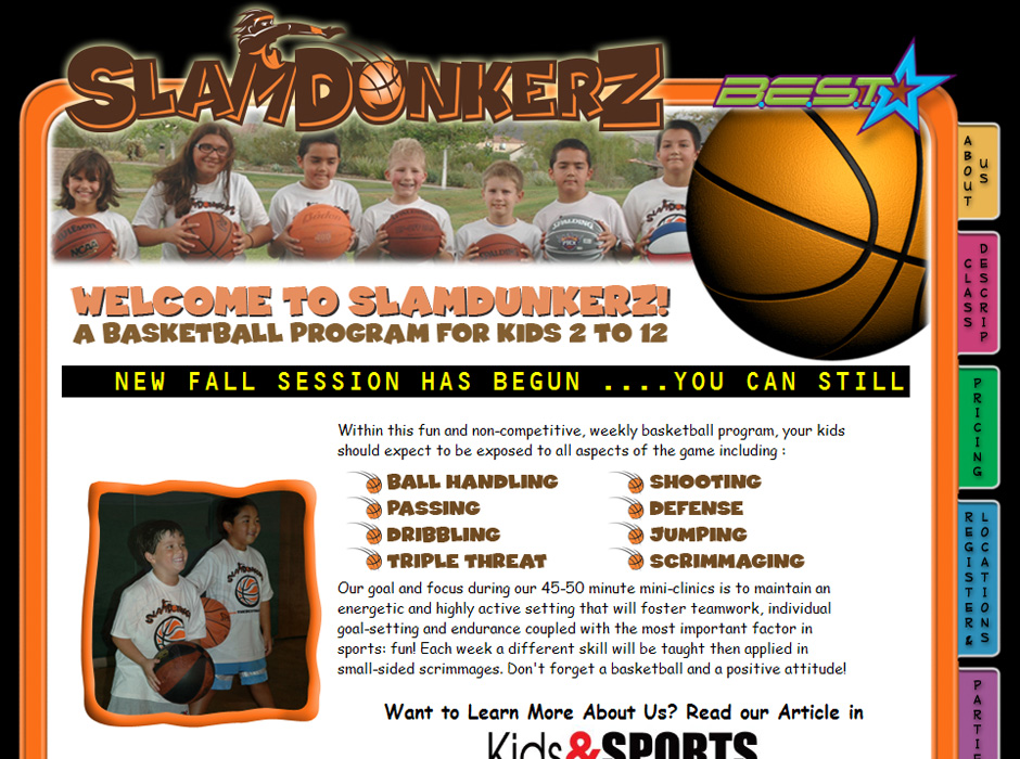 Slamdunkerz Basketball Program Website by Web Guy Arizona