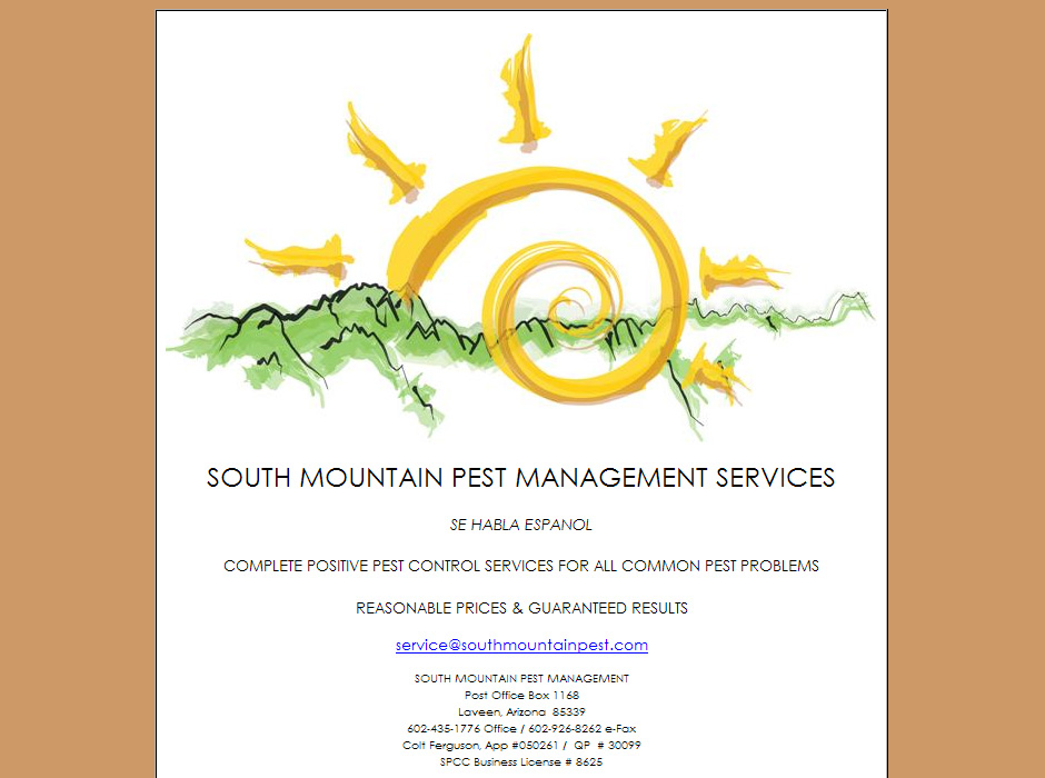 South Mountain Pest Management Website by Web Guy Arizona
