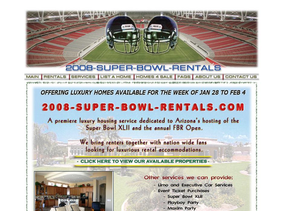 Super Bowl Rentals Website by Web Guy Arizona