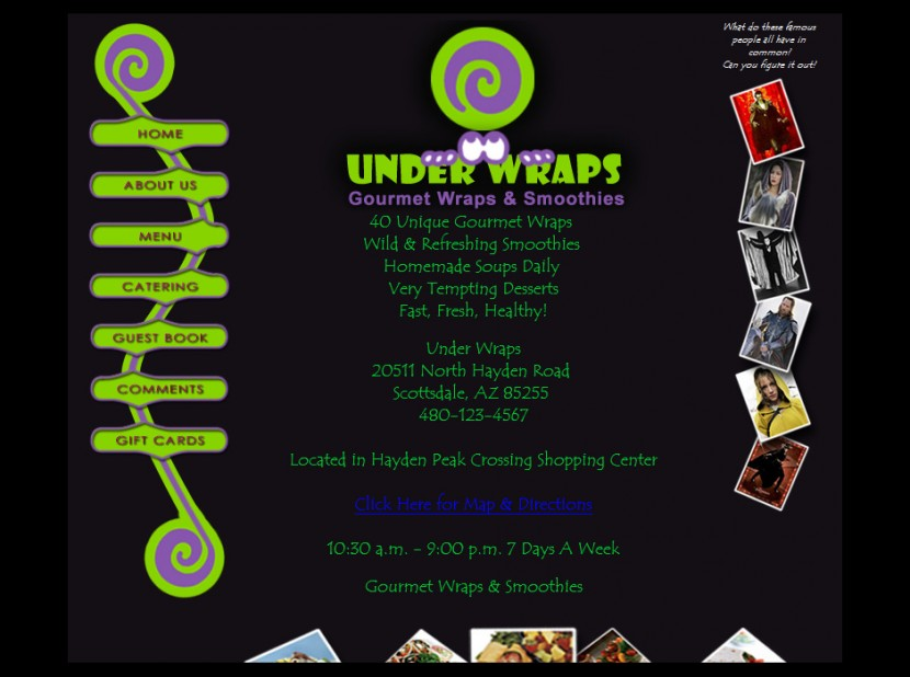 Under Wraps Restaurant Website