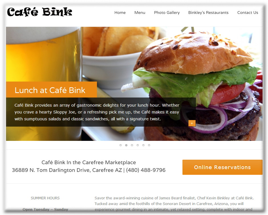 Cafe Bink WordPress Website by Web Guy Arizona