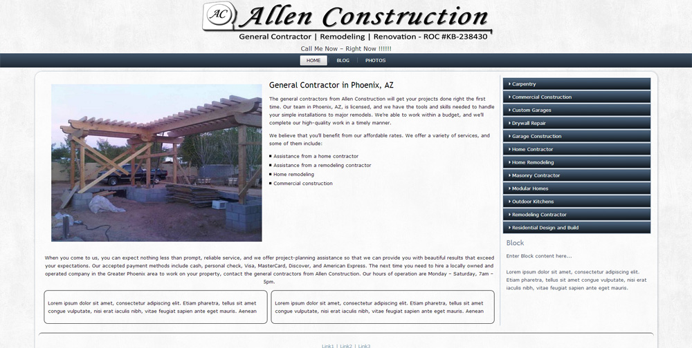 Allen Construction Contractor WordPress Website by Web Guy Arizona