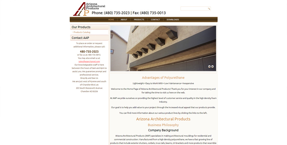 Arizona Arch Products Website