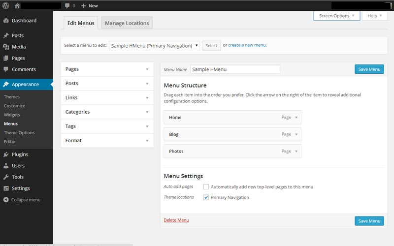 WordPress Appearance Menus