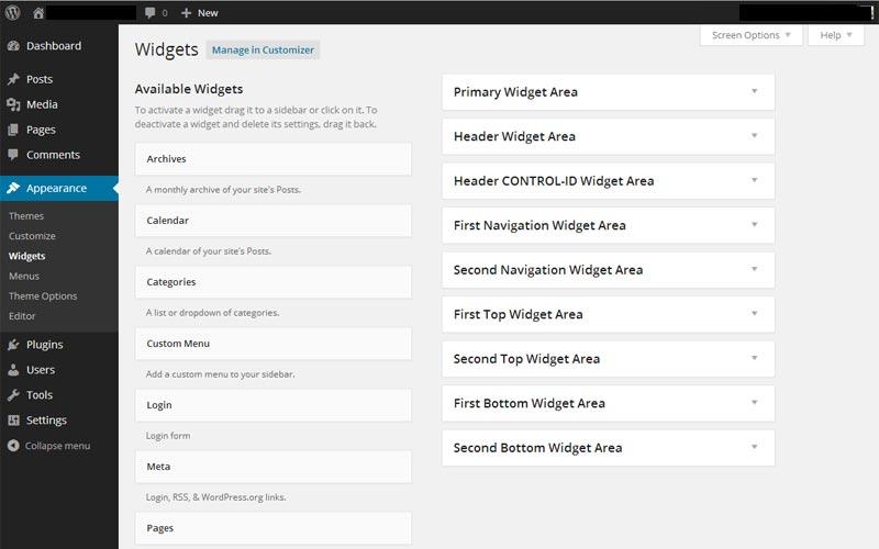 WordPress Appearance Widgets