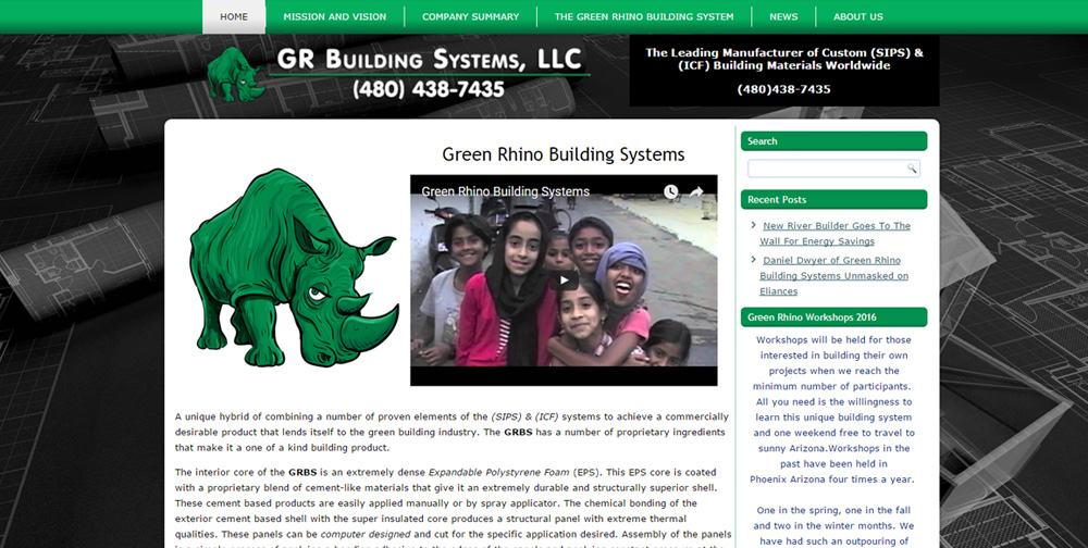 GR Building Systems WordPress Website by Web Guy Arizona