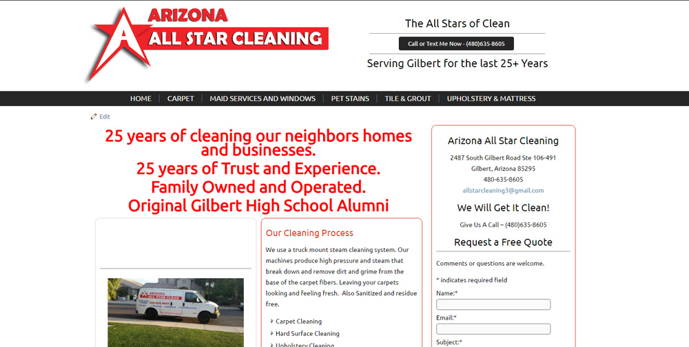 Arizona All Star Carpet Cleaning WordPress Website