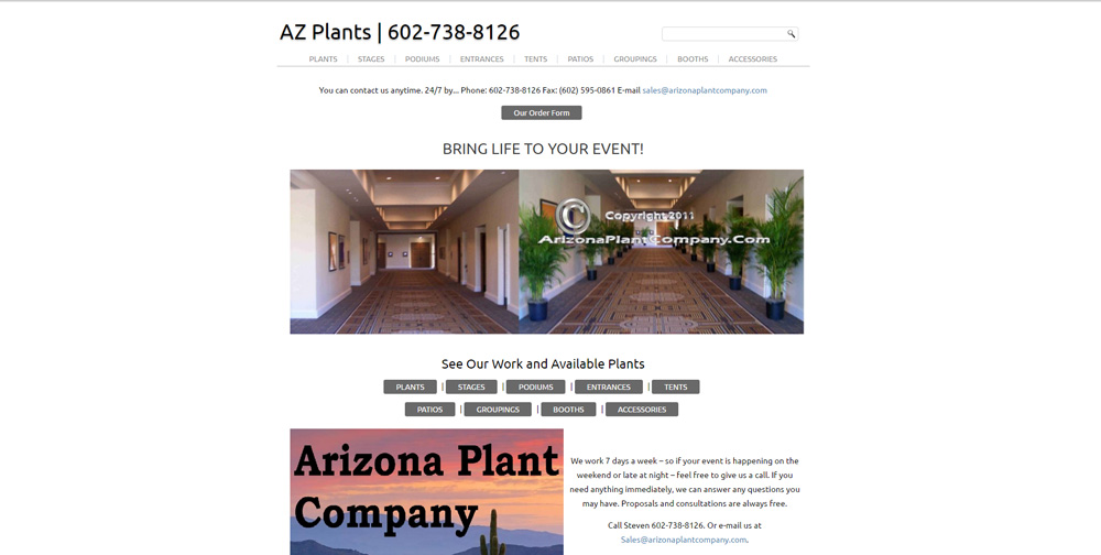 Arizona Plant Company WordPress Website