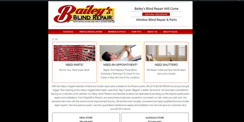 Baileys Blind Repair WordPress Website