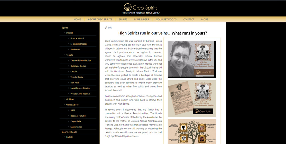 Creo Spirits WordPress Website