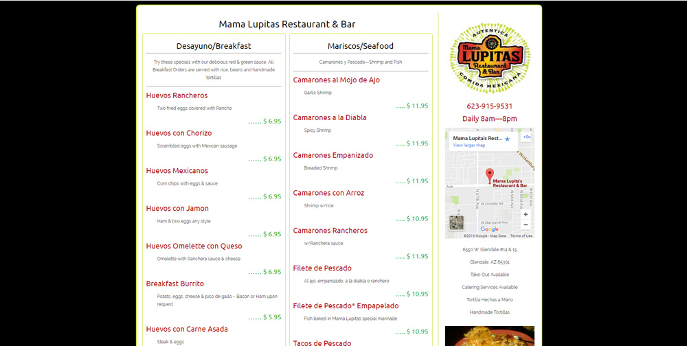 Mama Lupitas Restaurant WordPress Website