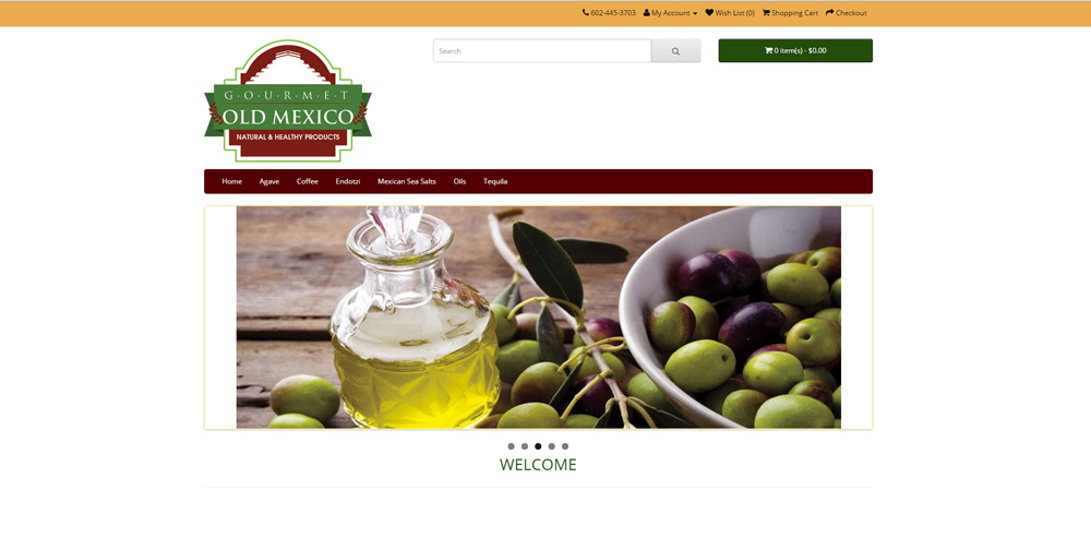 Old Mexico Gourmet WordPress Website