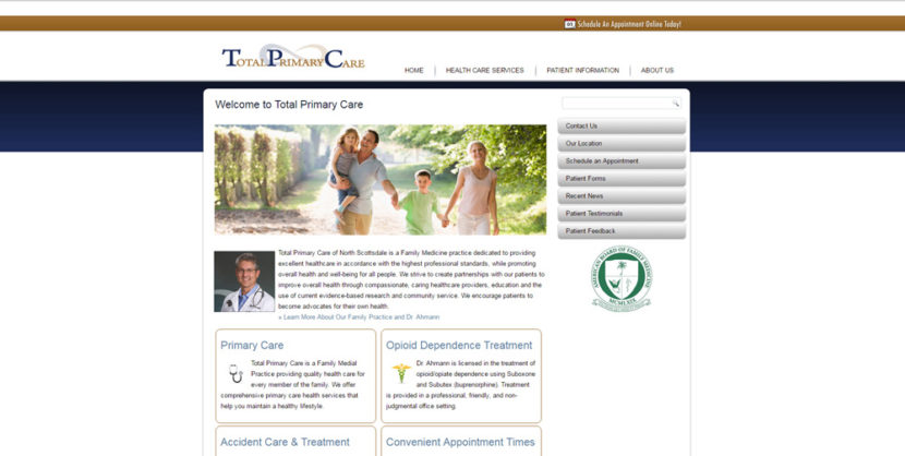 Total Primary Care WordPress Website